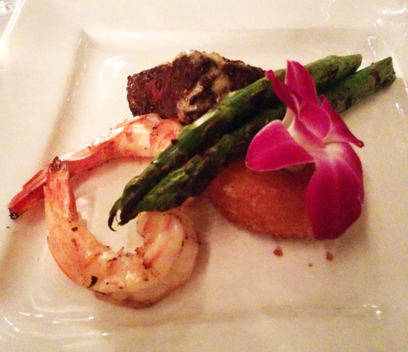 Petite filet and jumbo shrimp, Beachwalk Cafe