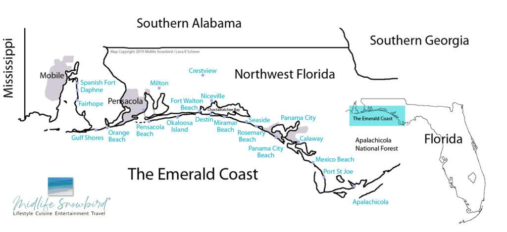Map of The Emerald Coast, Southern Alabama and Northwest Florida
